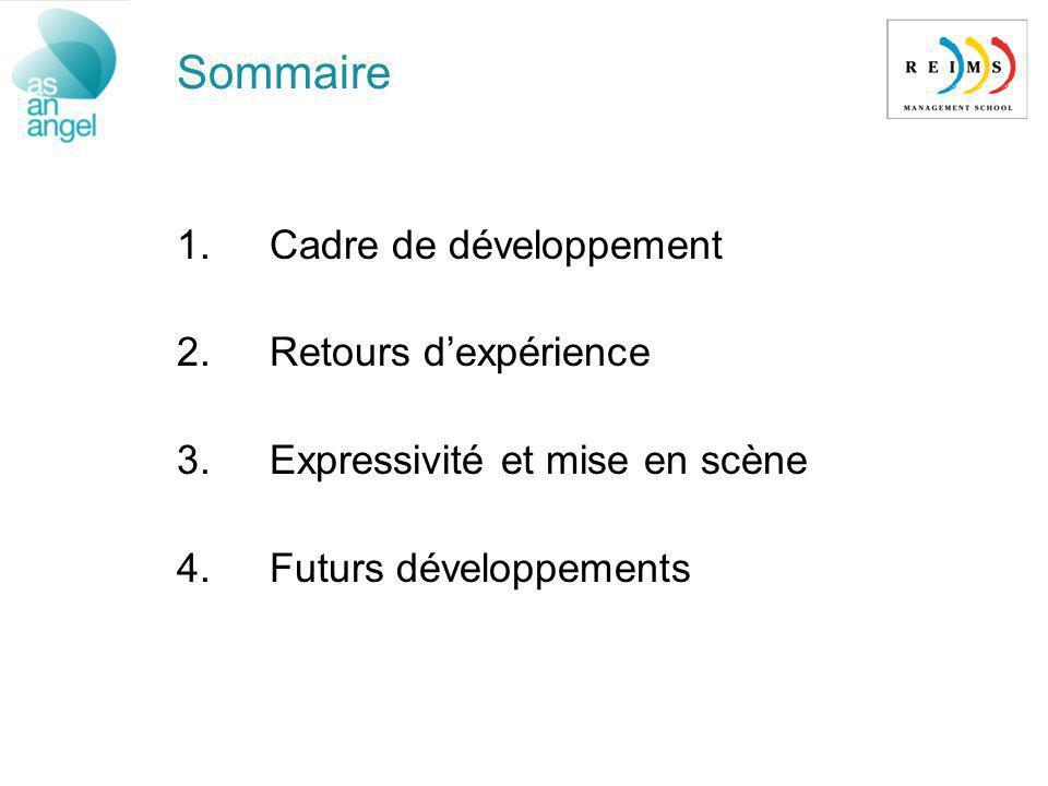 1.Cadre de développement 2.Retours dexpérience 3.Expressivité et mise en scène 4.Futurs développements Sommaire
