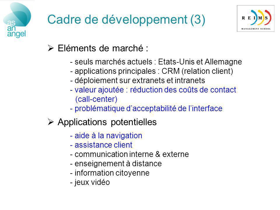 Cadre de développement (3) Eléments de marché : - seuls marchés actuels : Etats-Unis et Allemagne - applications principales : CRM (relation client) -