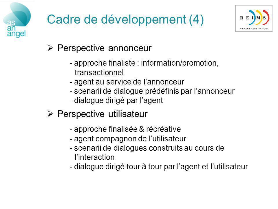 Cadre de développement (4) Perspective annonceur - approche finaliste : information/promotion, transactionnel - agent au service de lannonceur - scena