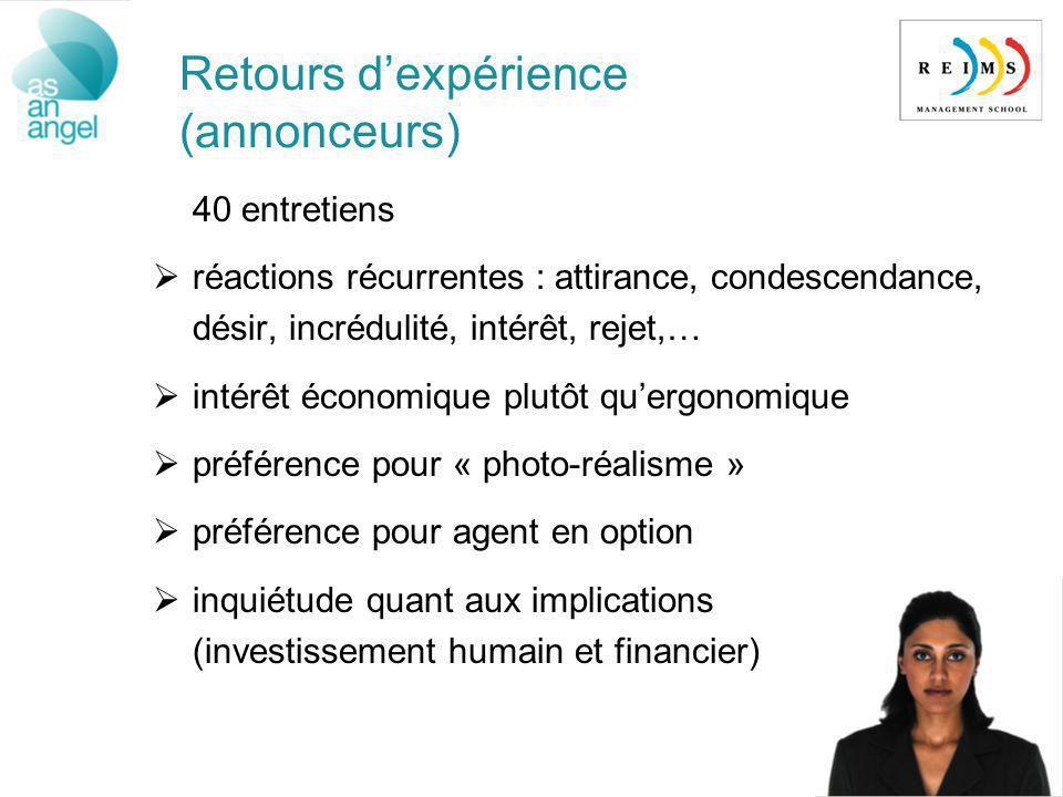 Retours dexpérience (annonceurs) 40 entretiens réactions récurrentes : attirance, condescendance, désir, incrédulité, intérêt, rejet,… intérêt économi