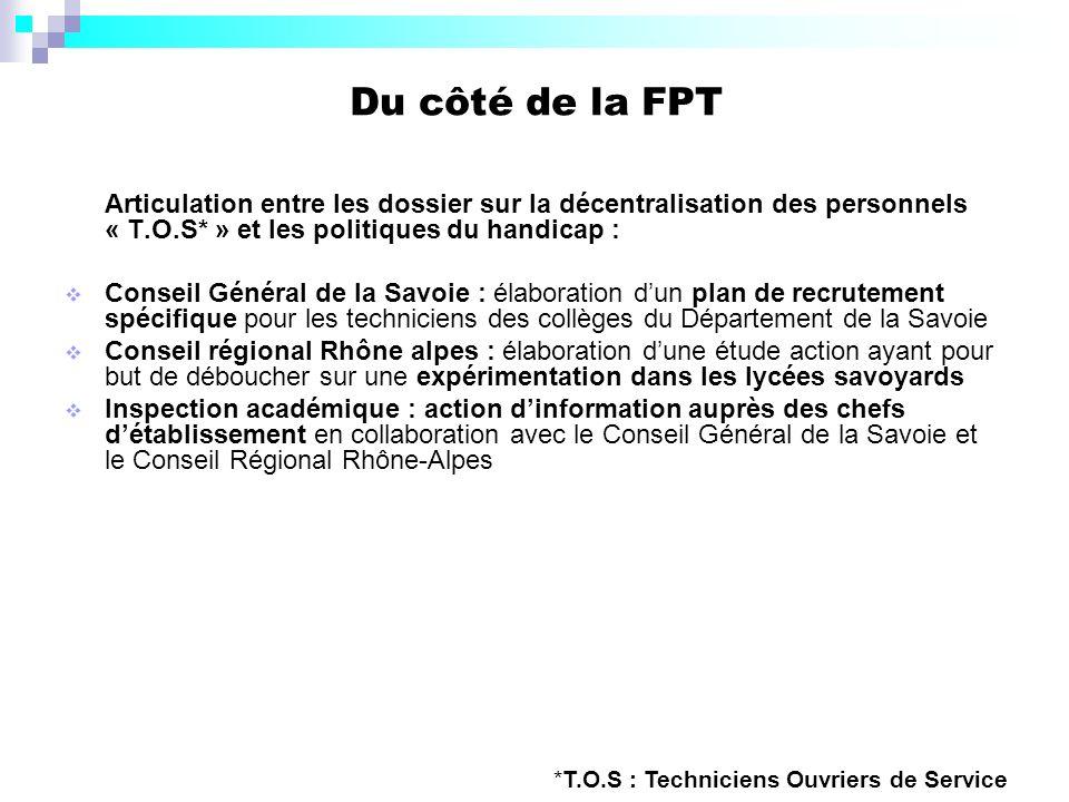 Du côté de la FPT Articulation entre les dossier sur la décentralisation des personnels « T.O.S* » et les politiques du handicap : Conseil Général de