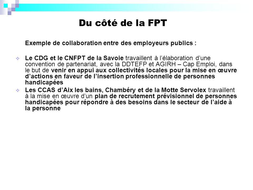 Du côté de la FPT Exemple de collaboration entre des employeurs publics : Le CDG et le CNFPT de la Savoie travaillent à lélaboration dune convention d