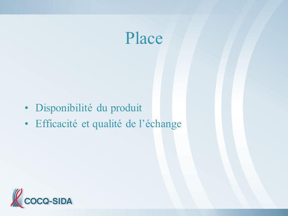 Place Disponibilité du produit Efficacité et qualité de léchange