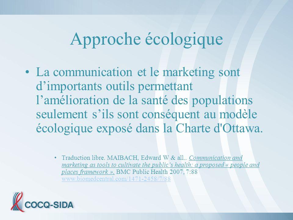 Approche écologique La communication et le marketing sont dimportants outils permettant lamélioration de la santé des populations seulement sils sont conséquent au modèle écologique exposé dans la Charte d Ottawa.