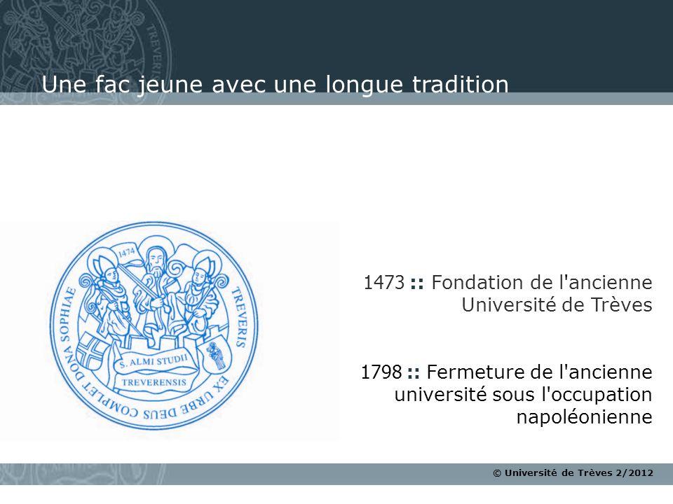 © Université de Trèves 2/2012 1473 :: Fondation de l'ancienne Université de Trèves 1798 :: Fermeture de l'ancienne université sous l'occupation napolé