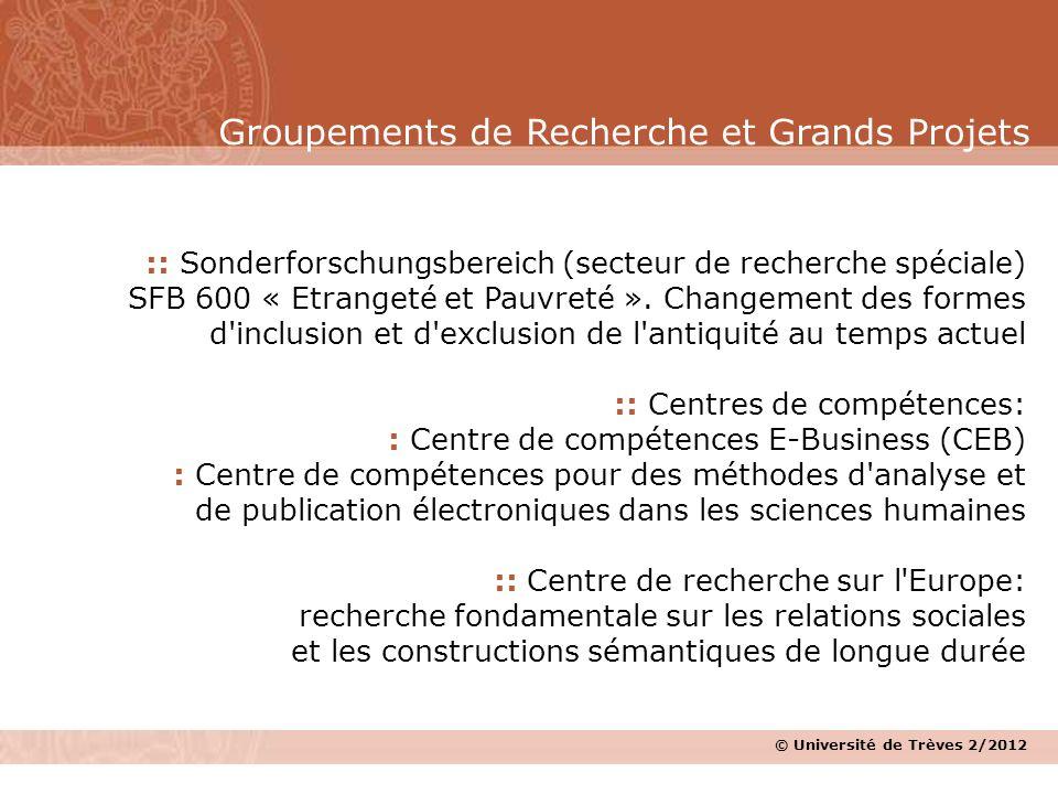 © Université de Trèves 2/2012 :: Sonderforschungsbereich (secteur de recherche spéciale) SFB 600 « Etrangeté et Pauvreté ». Changement des formes d'in