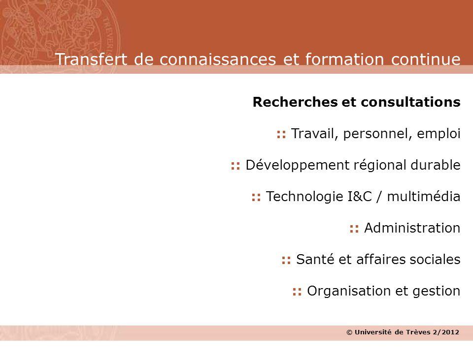 © Université de Trèves 2/2012 Recherches et consultations :: Travail, personnel, emploi :: Développement régional durable :: Technologie I&C / multimé