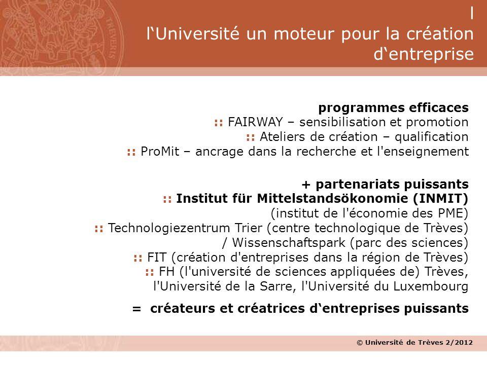 © Université de Trèves 2/2012 programmes efficaces :: FAIRWAY – sensibilisation et promotion :: Ateliers de création – qualification :: ProMit – ancra