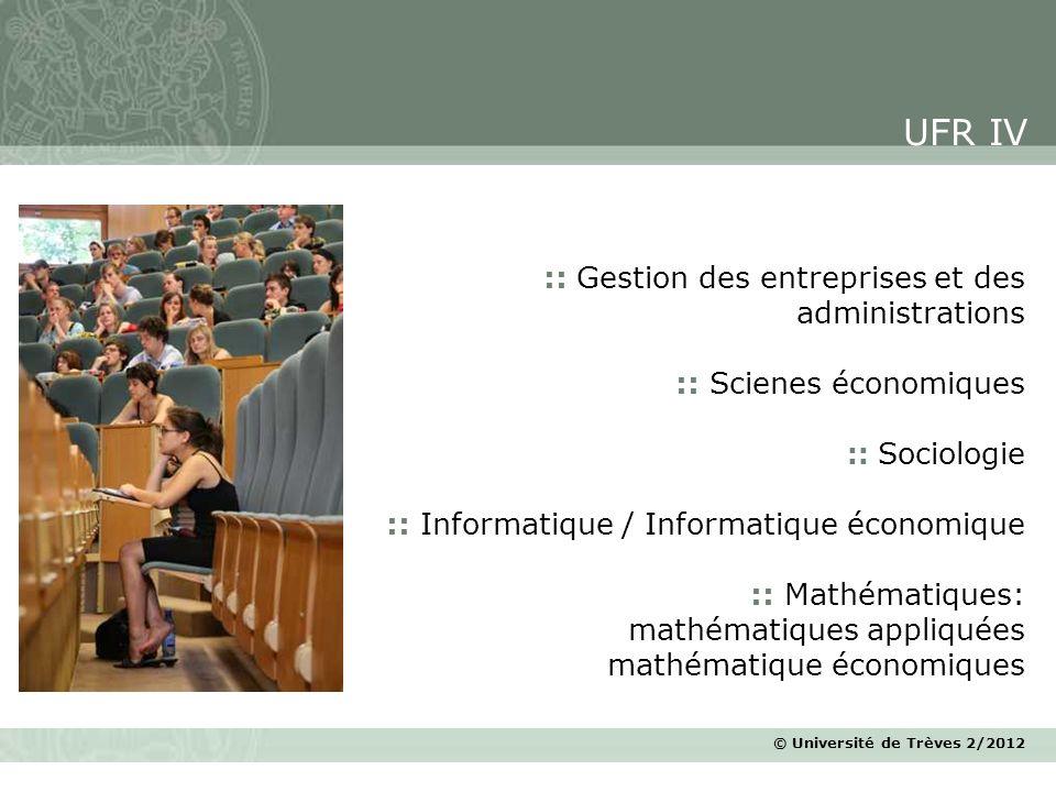 © Université de Trèves 2/2012 :: Gestion des entreprises et des administrations :: Scienes économiques :: Sociologie :: Informatique / Informatique éc