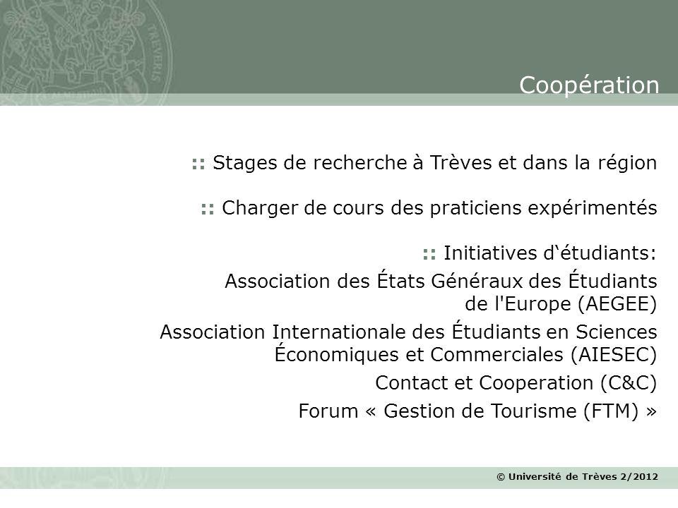 © Université de Trèves 2/2012 :: Stages de recherche à Trèves et dans la région :: Charger de cours des praticiens expérimentés :: Initiatives détudia