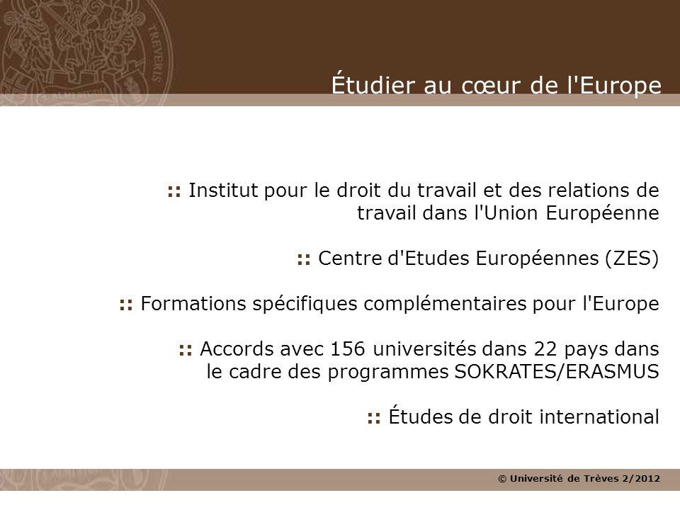 © Université de Trèves 2/2012 :: Institut pour le droit du travail et des relations de travail dans l'Union Européenne :: Centre d'Etudes Européennes