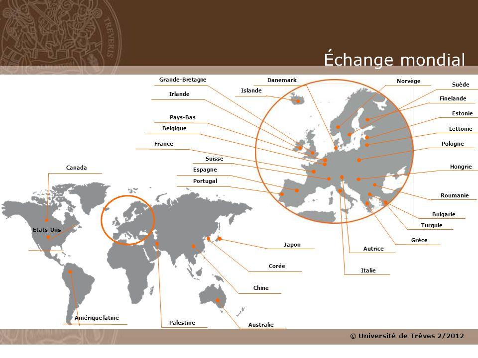© Université de Trèves 2/2012 Amérique latine Canada Australie Corée Etats-Unis Chine Japon Roumanie Belgique Danemark Estonie Suède France Grèce Gran