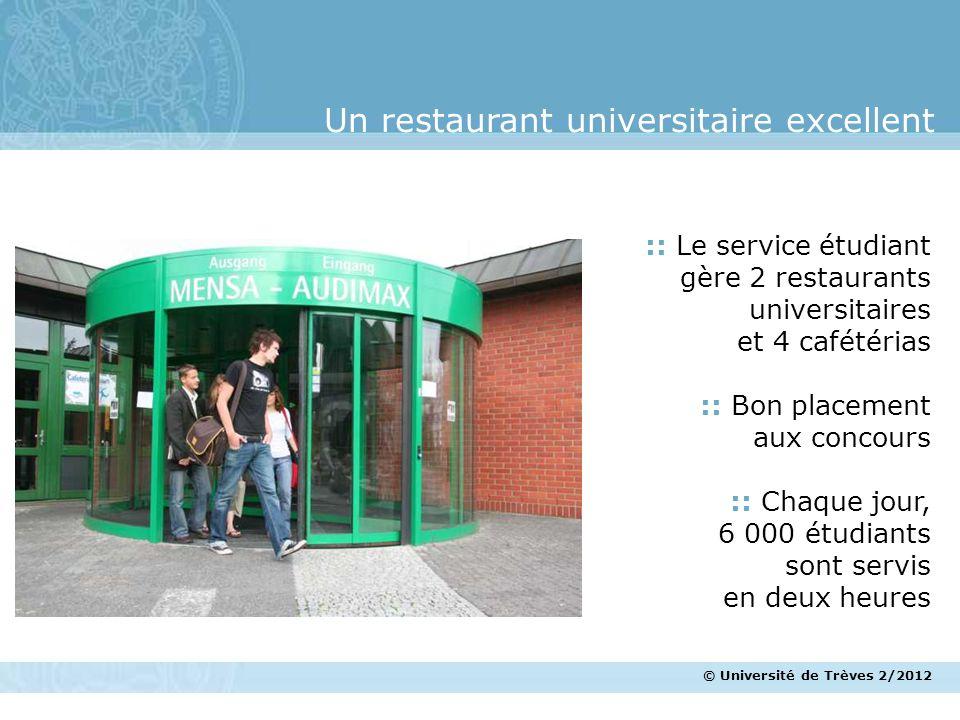 © Université de Trèves 2/2012 Un restaurant universitaire excellent :: Le service étudiant gère 2 restaurants universitaires et 4 cafétérias :: Bon pl