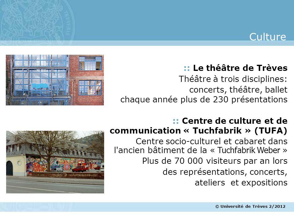 © Université de Trèves 2/2012 :: Le théâtre de Trèves Théâtre à trois disciplines: concerts, théâtre, ballet chaque année plus de 230 présentations ::