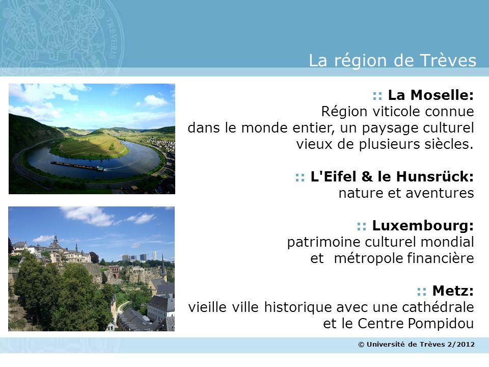 © Université de Trèves 2/2012 La région de Trèves :: La Moselle: Région viticole connue dans le monde entier, un paysage culturel vieux de plusieurs s