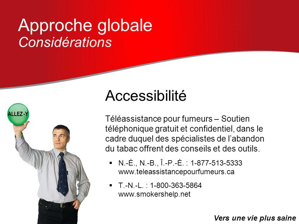 Approche globale Considérations Téléassistance pour fumeurs – Soutien téléphonique gratuit et confidentiel, dans le cadre duquel des spécialistes de l