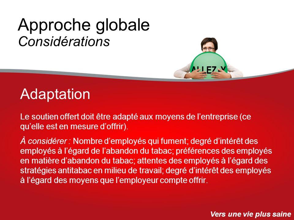 Approche globale Considérations Le soutien offert doit être adapté aux moyens de lentreprise (ce quelle est en mesure doffrir). À considérer : Nombre