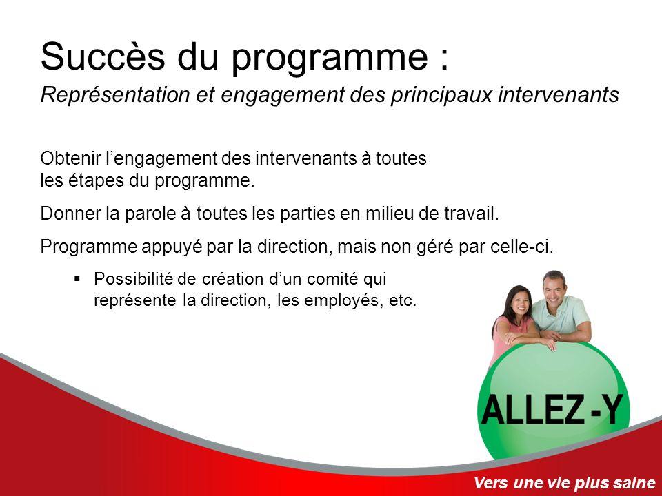 Succès du programme : Représentation et engagement des principaux intervenants Obtenir lengagement des intervenants à toutes les étapes du programme.