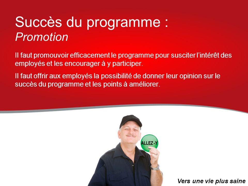 Succès du programme : Promotion Il faut promouvoir efficacement le programme pour susciter lintérêt des employés et les encourager à y participer. Il