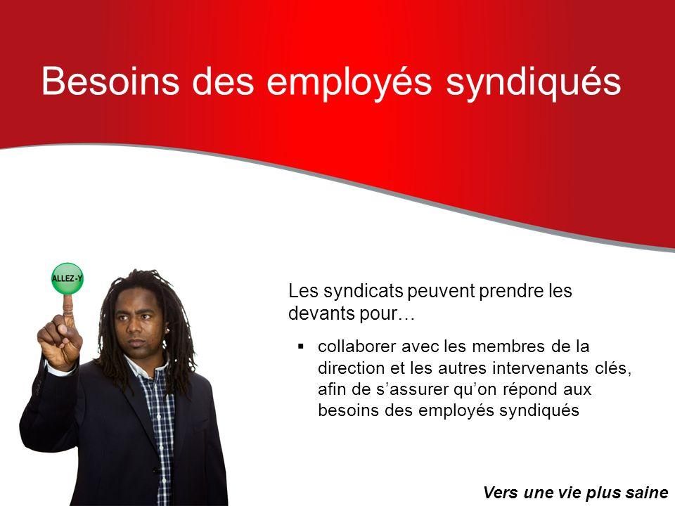 Besoins des employés syndiqués Les syndicats peuvent prendre les devants pour… collaborer avec les membres de la direction et les autres intervenants
