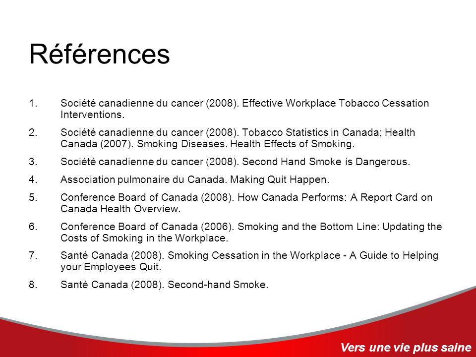Références 1.Société canadienne du cancer (2008). Effective Workplace Tobacco Cessation Interventions. 2.Société canadienne du cancer (2008). Tobacco