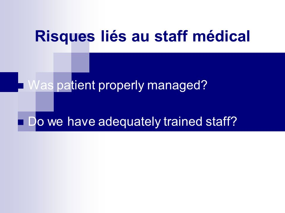 Risques liés au patient Direct association with patient care Consequences of inappropriate or incorrectly performed medical treatments Confidentiality and appropriate release of information Protection from abuse, neglect and assault Was patient informed of risks.