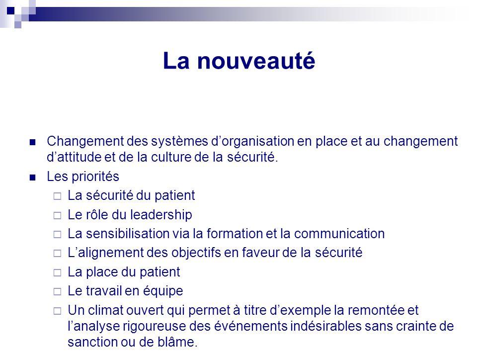 Principaux Axes Transparence et déclaration des évènements indésirables et des accidents Évaluation et analyse des risques notamment médicaux Formatio