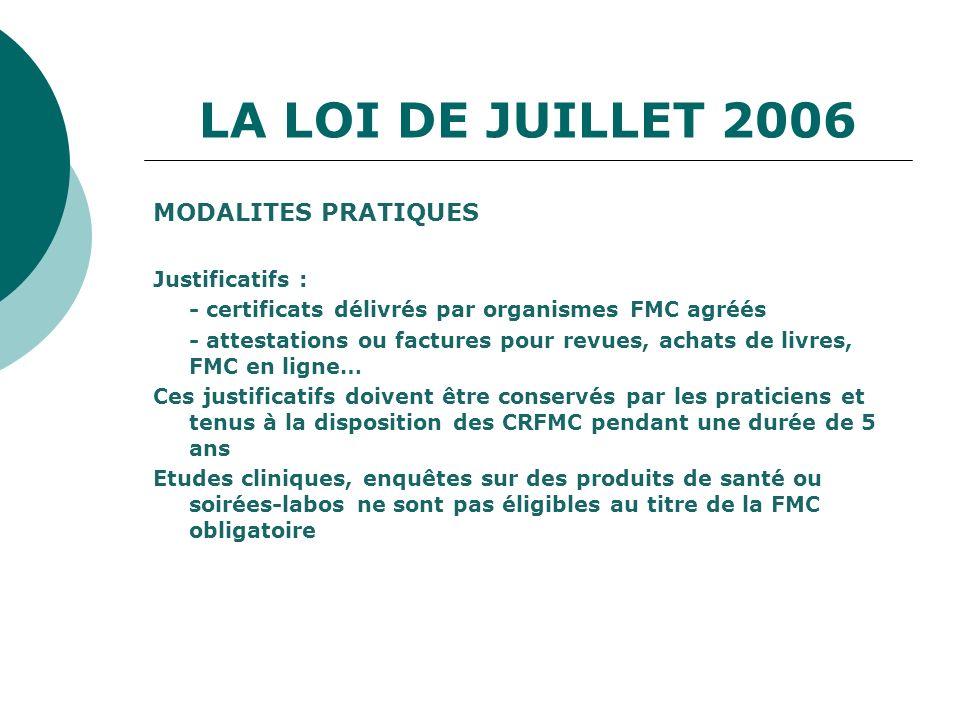 LA LOI DE JUILLET 2006 MODALITES PRATIQUES Justificatifs : - certificats délivrés par organismes FMC agréés - attestations ou factures pour revues, ac