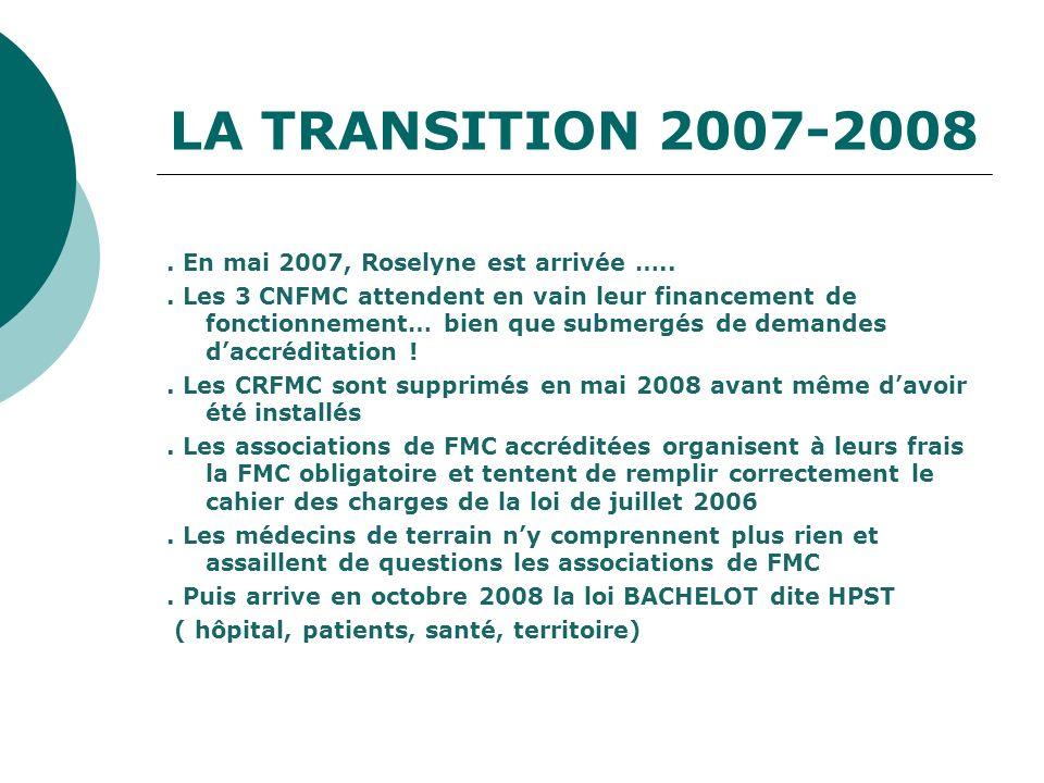 LA TRANSITION 2007-2008. En mai 2007, Roselyne est arrivée …... Les 3 CNFMC attendent en vain leur financement de fonctionnement… bien que submergés d