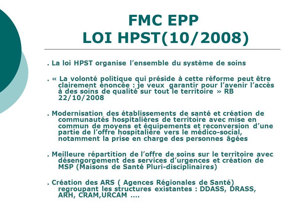 FMC EPP LOI HPST(10/2008). La loi HPST organise lensemble du système de soins. « La volonté politique qui préside à cette réforme peut être clairement