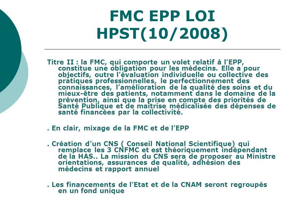 FMC EPP LOI HPST(10/2008) Titre II : la FMC, qui comporte un volet relatif à lEPP, constitue une obligation pour les médecins. Elle a pour objectifs,