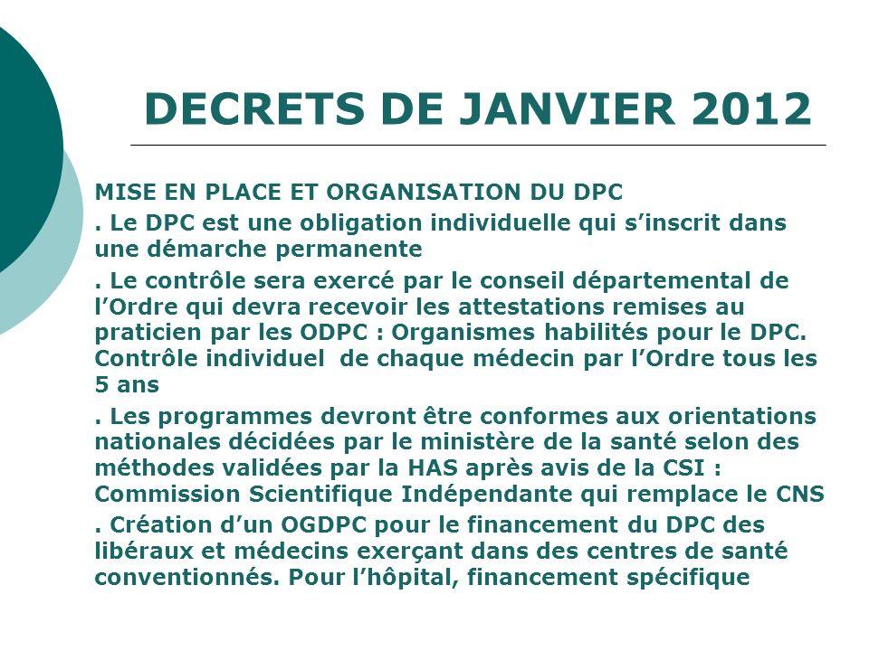 DECRETS DE JANVIER 2012 MISE EN PLACE ET ORGANISATION DU DPC. Le DPC est une obligation individuelle qui sinscrit dans une démarche permanente. Le con