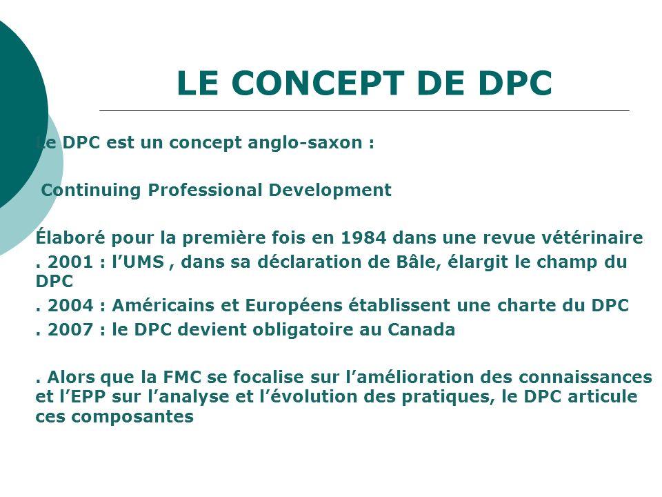 LE CONCEPT DE DPC Le DPC est un concept anglo-saxon : Continuing Professional Development Élaboré pour la première fois en 1984 dans une revue vétérin