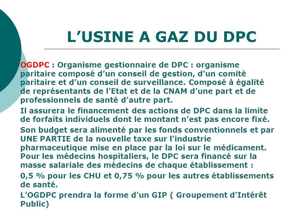 LUSINE A GAZ DU DPC OGDPC : Organisme gestionnaire de DPC : organisme paritaire composé dun conseil de gestion, dun comité paritaire et dun conseil de