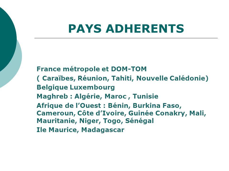 PAYS ADHERENTS France métropole et DOM-TOM ( Caraïbes, Réunion, Tahiti, Nouvelle Calédonie) Belgique Luxembourg Maghreb : Algérie, Maroc, Tunisie Afri