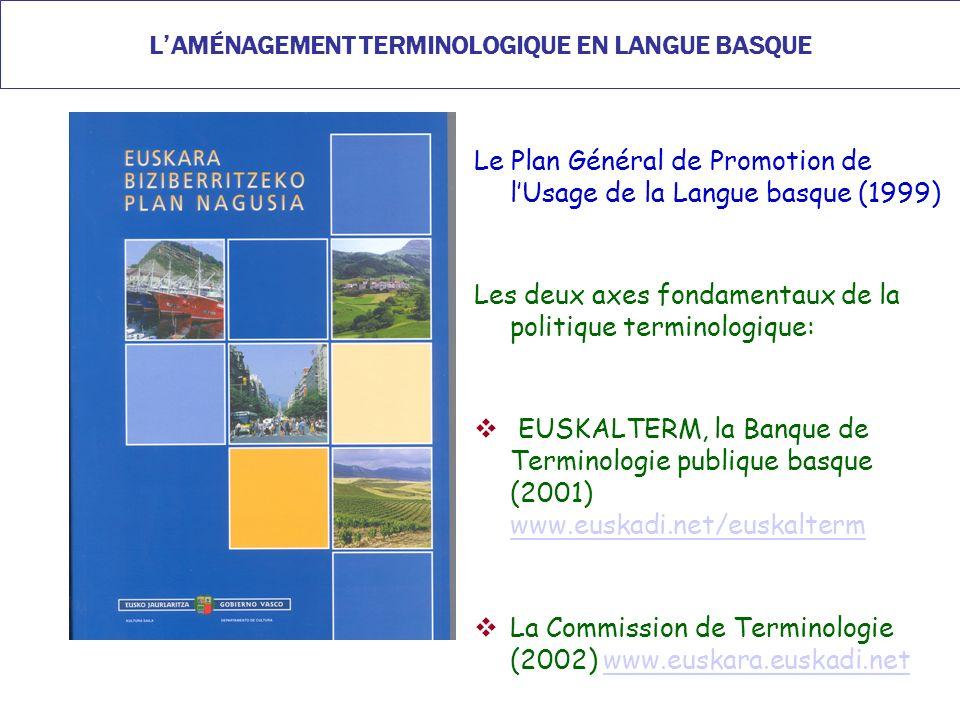 LAMÉNAGEMENT TERMINOLOGIQUE EN LANGUE BASQUE Le Plan Général de Promotion de lUsage de la Langue basque (1999) Les deux axes fondamentaux de la politique terminologique: EUSKALTERM, la Banque de Terminologie publique basque (2001) www.euskadi.net/euskalterm www.euskadi.net/euskalterm La Commission de Terminologie (2002) www.euskara.euskadi.netwww.euskara.euskadi.net