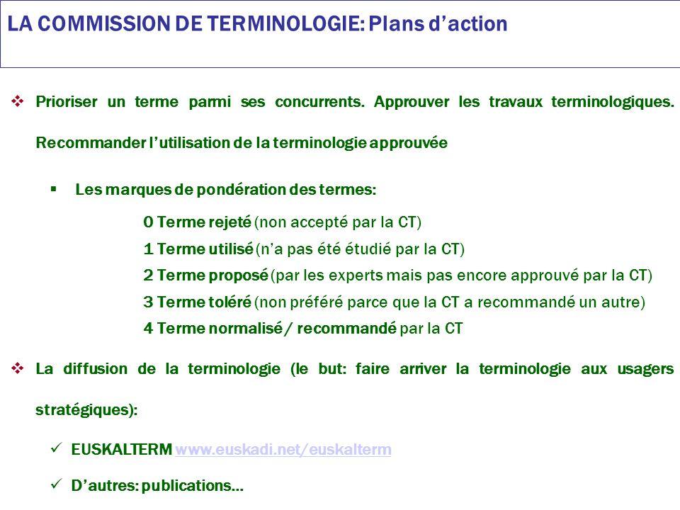 LA COMMISSION DE TERMINOLOGIE: Plans daction Procédure du travail en terminologie: UZEI réalise les travaux terminologiques dactualisation dEUSKALTERM (selon les priorités établies par la Commission de Terminologie).