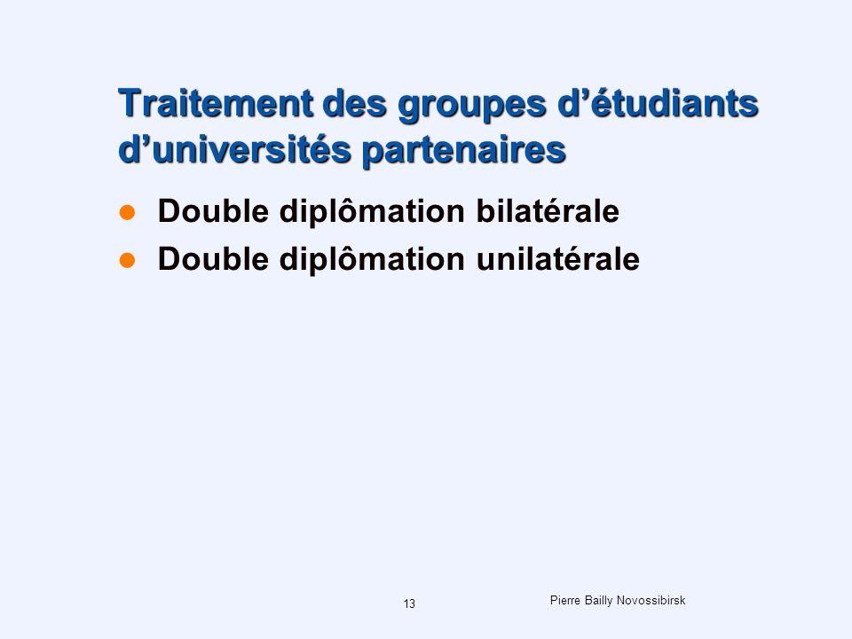Pierre Bailly Novossibirsk 13 Traitement des groupes détudiants duniversités partenaires Double diplômation bilatérale Double diplômation unilatérale