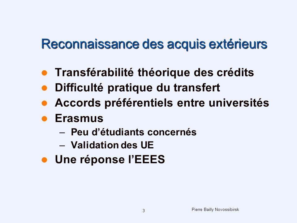 3 Reconnaissance des acquis extérieurs Transférabilité théorique des crédits Difficulté pratique du transfert Accords préférentiels entre universités Erasmus –Peu détudiants concernés –Validation des UE Une réponse lEEES