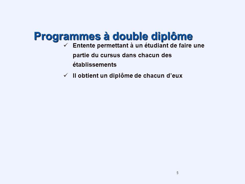 5 Programmes à double diplôme Entente permettant à un étudiant de faire une partie du cursus dans chacun des établissements Il obtient un diplôme de chacun deux