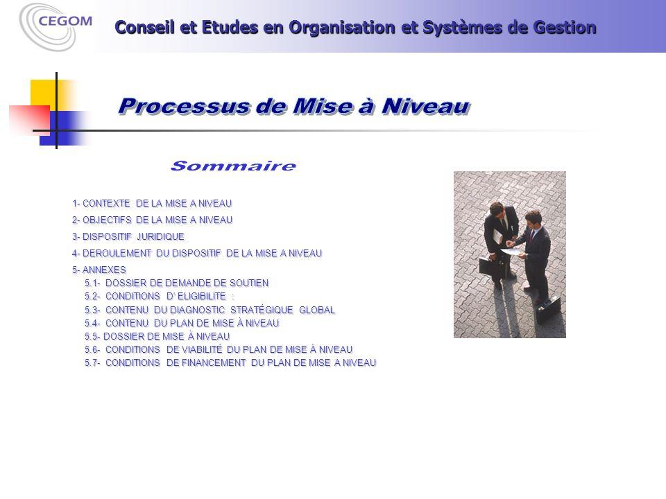 1- CONTEXTE DE LA MISE A NIVEAU 2- OBJECTIFS DE LA MISE A NIVEAU 3- DISPOSITIF JURIDIQUE 4- DEROULEMENT DU DISPOSITIF DE LA MISE A NIVEAU 5- ANNEXES 5.1- DOSSIER DE DEMANDE DE SOUTIEN 5.1- DOSSIER DE DEMANDE DE SOUTIEN 5.2- CONDITIONS D ELIGIBILITE : 5.2- CONDITIONS D ELIGIBILITE : 5.3- CONTENU DU DIAGNOSTIC STRATÉGIQUE GLOBAL 5.3- CONTENU DU DIAGNOSTIC STRATÉGIQUE GLOBAL 5.4- CONTENU DU PLAN DE MISE À NIVEAU 5.4- CONTENU DU PLAN DE MISE À NIVEAU 5.5- DOSSIER DE MISE À NIVEAU 5.5- DOSSIER DE MISE À NIVEAU 5.6- CONDITIONS DE VIABILITÉ DU PLAN DE MISE À NIVEAU 5.6- CONDITIONS DE VIABILITÉ DU PLAN DE MISE À NIVEAU 5.7- CONDITIONS DE FINANCEMENT DU PLAN DE MISE A NIVEAU 5.7- CONDITIONS DE FINANCEMENT DU PLAN DE MISE A NIVEAU Conseil et Etudes en Organisation et Systèmes de Gestion Conseil et Etudes en Organisation et Systèmes de Gestion