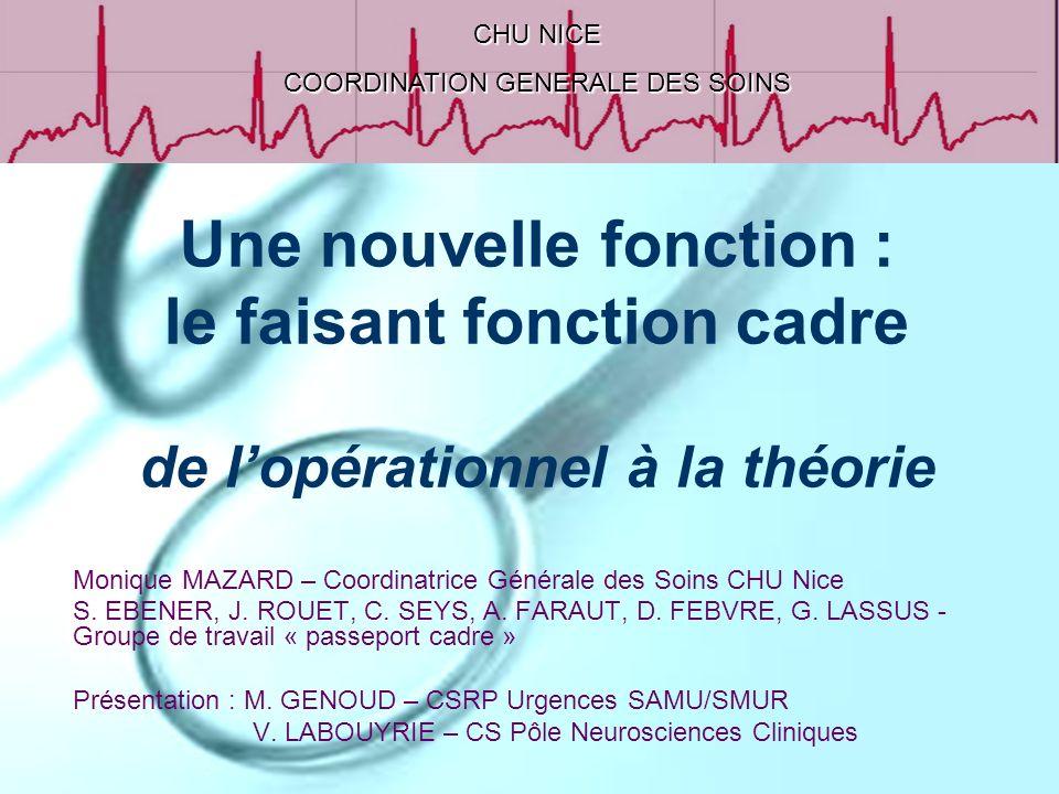 Une nouvelle fonction : le faisant fonction cadre de lopérationnel à la théorie Monique MAZARD – Coordinatrice Générale des Soins CHU Nice S. EBENER,