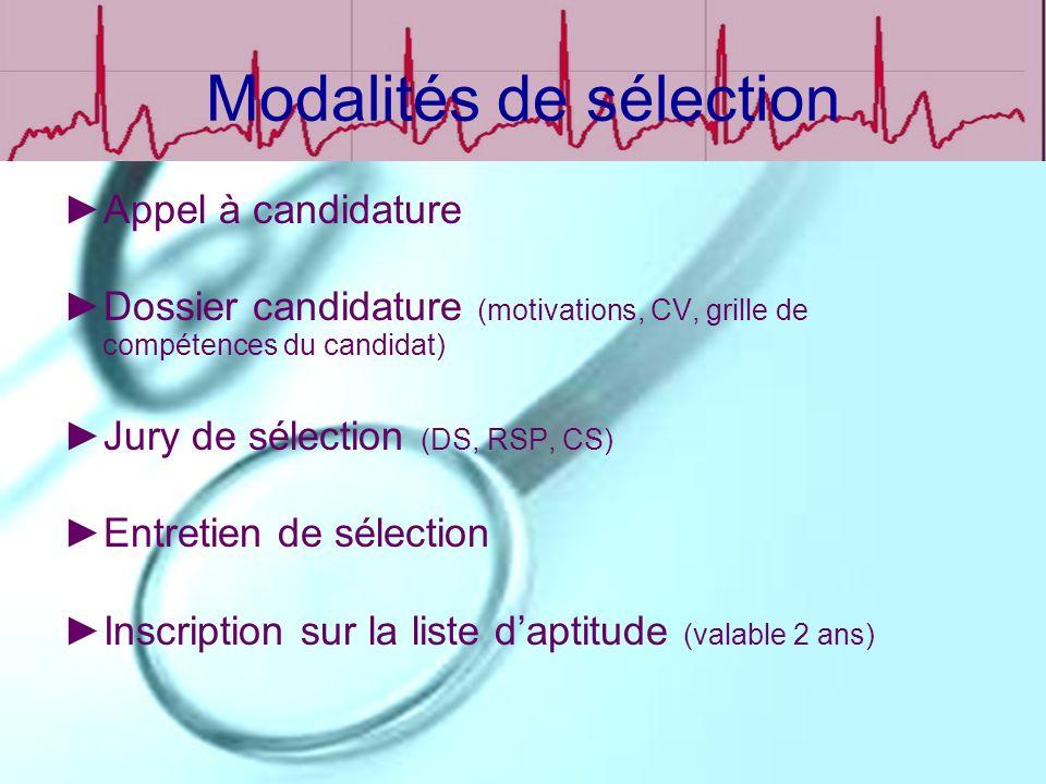 Modalités de sélection Appel à candidature Dossier candidature (motivations, CV, grille de compétences du candidat) Jury de sélection (DS, RSP, CS) En