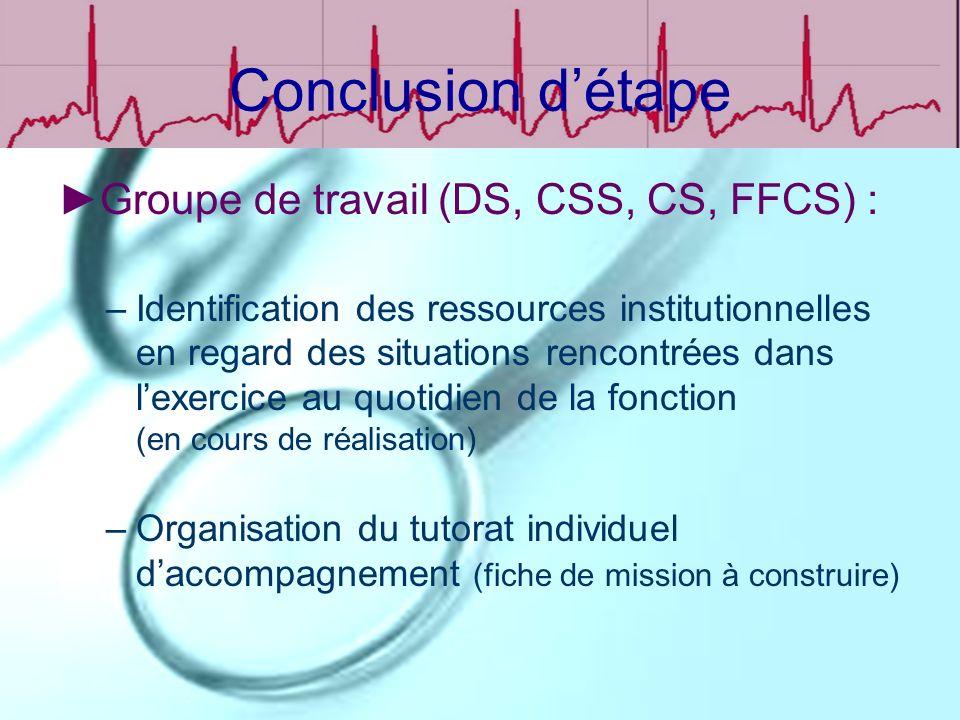 Conclusion détape Groupe de travail (DS, CSS, CS, FFCS) : –Identification des ressources institutionnelles en regard des situations rencontrées dans l