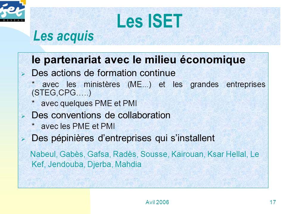 Avil 200617 …. le partenariat avec le milieu économique Des actions de formation continue * avec les ministères (ME...) et les grandes entreprises (ST