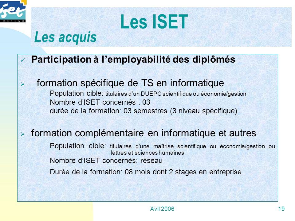 Avil 200619 Participation à lemployabilité des diplômés formation spécifique de TS en informatique Population cible: titulaires dun DUEPC scientifique