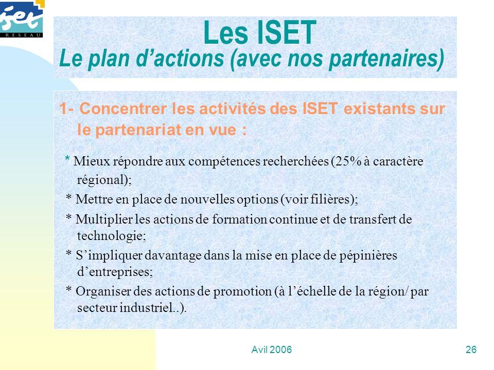 Avil 200626 1- Concentrer les activités des ISET existants sur le partenariat en vue : * Mieux répondre aux compétences recherchées (25% à caractère r