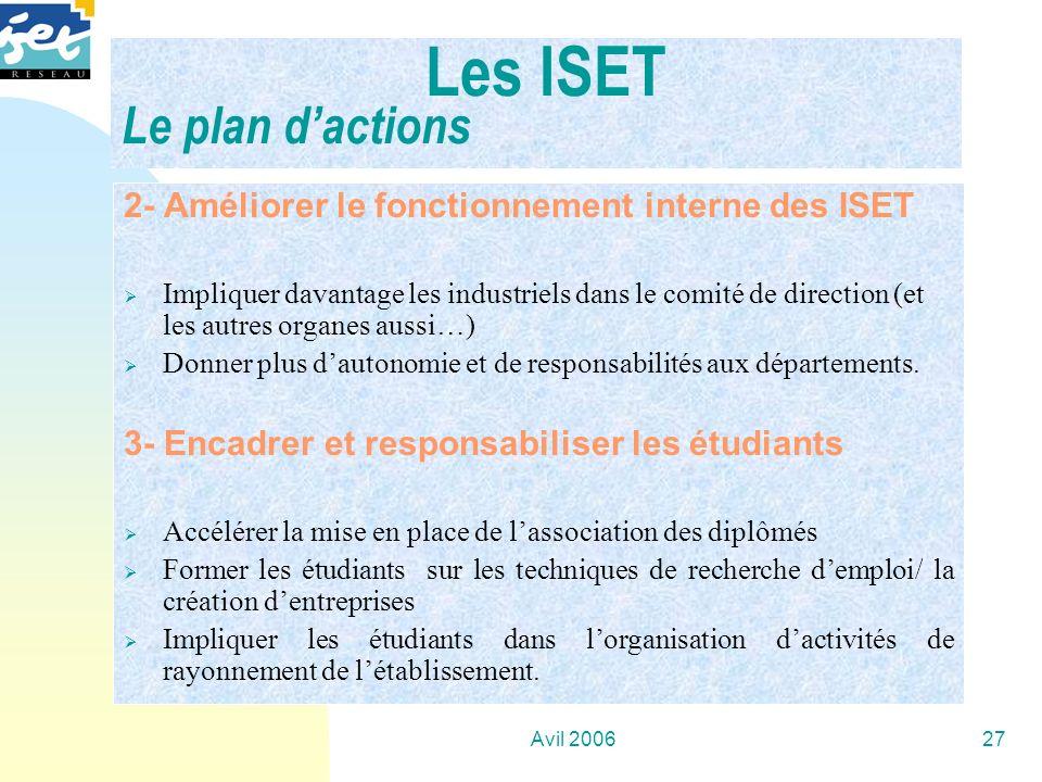 Avil 200627 2- Améliorer le fonctionnement interne des ISET Impliquer davantage les industriels dans le comité de direction (et les autres organes aus