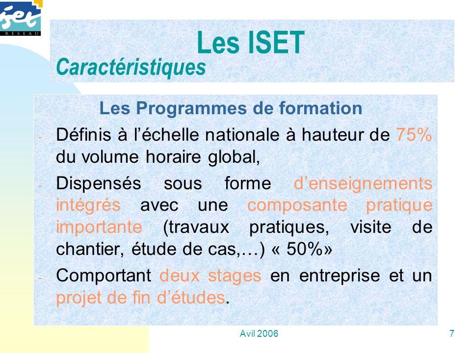 Avil 20067 Les Programmes de formation - Définis à léchelle nationale à hauteur de 75% du volume horaire global, - Dispensés sous forme denseignements