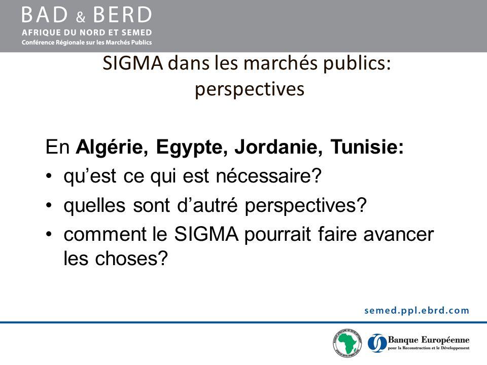 SIGMA dans les marchés publics: perspectives En Algérie, Egypte, Jordanie, Tunisie: quest ce qui est nécessaire? quelles sont dautré perspectives? com